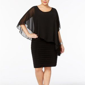 Betsy & Adam Chiffon Capelet Sheath Dress Black